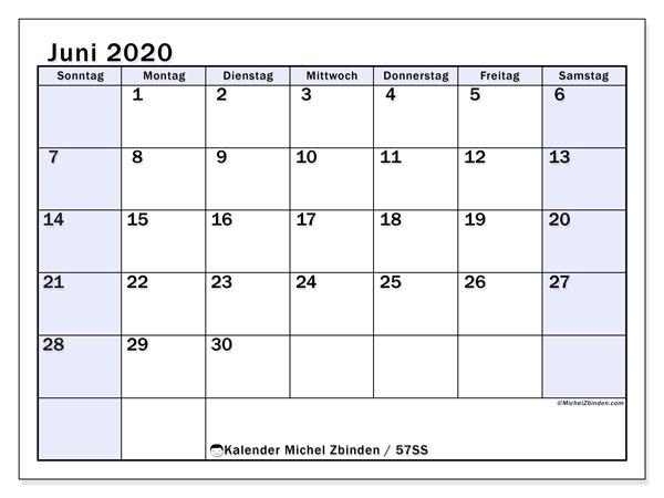 Kalender Juni 2020, 57SS. Kalender für den Monat zum kostenlosen ausdrucken.