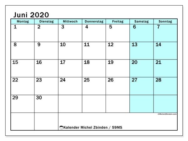 Kalender Juni 2020, 59MS. Kostenloser Zeitplan zum ausdrucken.