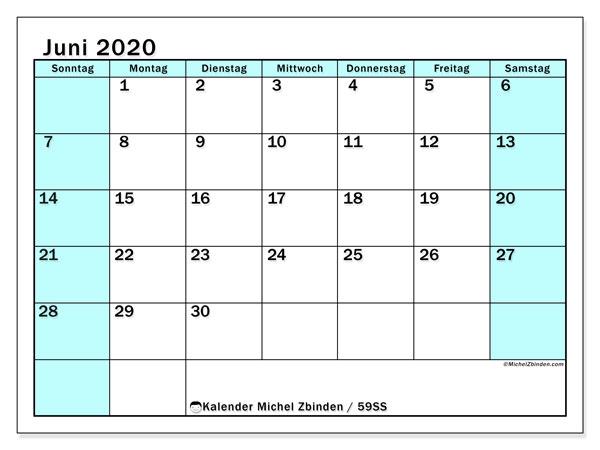 Kalender Juni 2020, 59SS. Planer zum kostenlosen ausdrucken.
