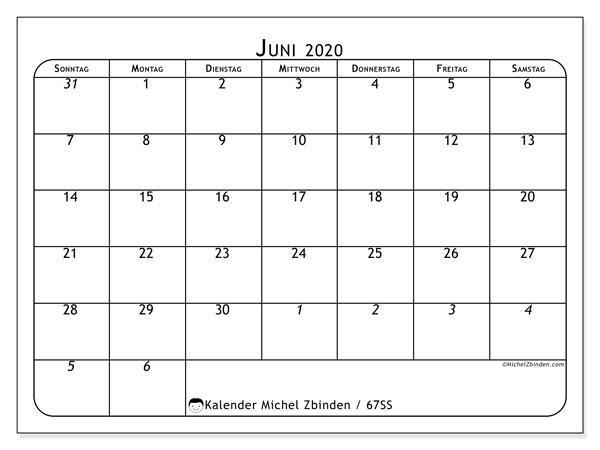 Kalender Juni 2020, 67SS. Monatlicher Kalender zum kostenlosen ausdrucken.
