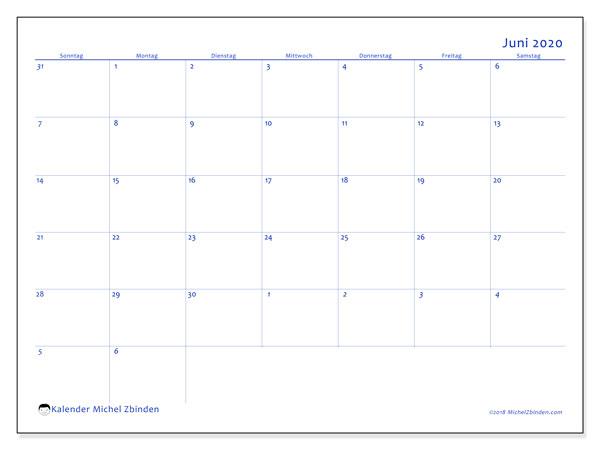 Kalender Juni 2020, 73SS. Planer zum kostenlosen ausdrucken.