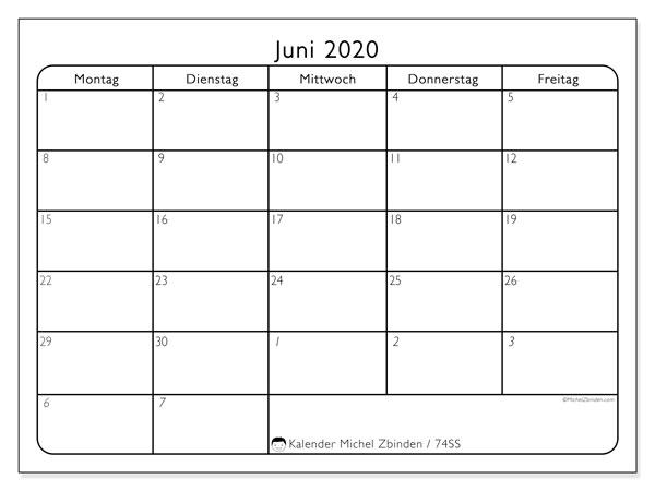 Kalender Juni 2020, 74SS. Kostenlos ausdruckbare Planer.