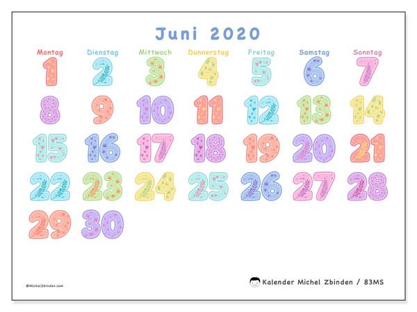 Kalender Juni 2020, 83MS. Kostenloser Zeitplan zum ausdrucken.