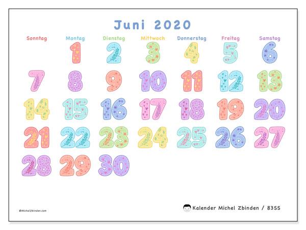 Kalender Juni 2020, 83SS. Zeitplan zum kostenlosen ausdrucken.
