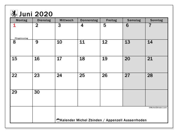 Kalender Juni 2020, mit den Feiertagen des Kantons Appenzell Ausserrhoden. Kalender Feiertage frei zum ausdrucken.