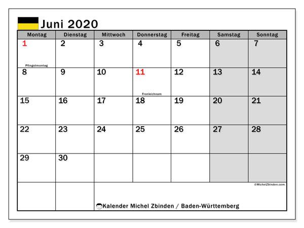 Kalender Juni 2020, mit den Feiertagen in Baden-Württemberg. Kalender Feiertage frei zum ausdrucken.