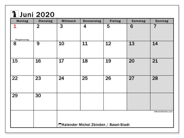 Kalender Juni 2020, mit den Feiertagen des Kantons Basel Stadt. Kalender mit Feiertagen zum kostenlosen ausdrucken.