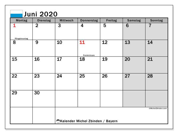 Kalender Juni 2020, mit den Feiertagen von Bayern. Kalender Feiertage frei zum ausdrucken.