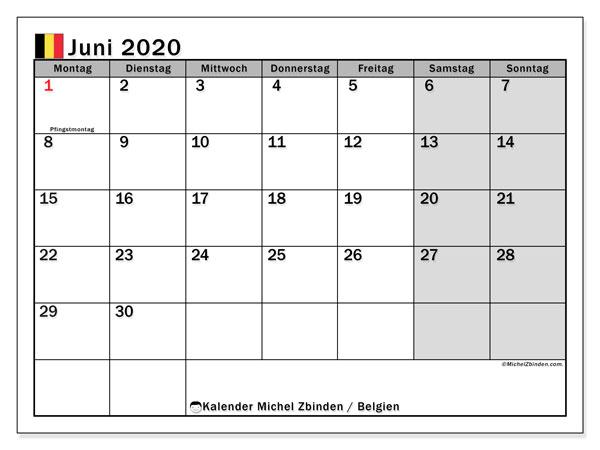 Kalender für Juni 2020, mit Feiertagen in Belgien. Kostenloser Planer zum ausdrucken.