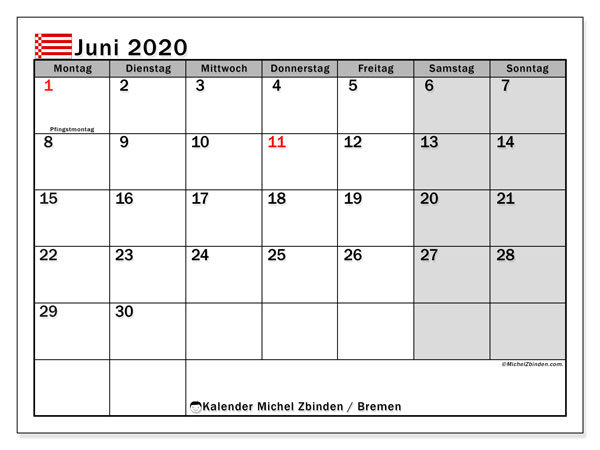 Kalender Juni 2020, mit den Feiertagen in Bremen. Kalender mit Feiertagen zum kostenlosen ausdrucken.