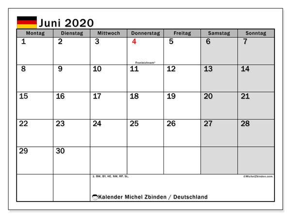 Kalender Juni 2020, mit den Feiertagen Deutschlands. Kalender Feiertage frei zum ausdrucken.