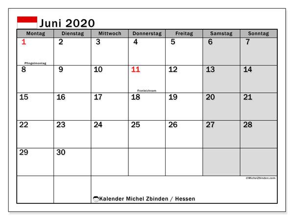 Kalender Juni 2020, mit den Feiertagen in Hessen. Kalender Feiertage frei zum ausdrucken.
