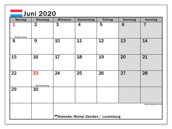 Kalender Juni 2020, mit den Feiertagen in Luxemburg. Kalender Feiertage frei zum ausdrucken.