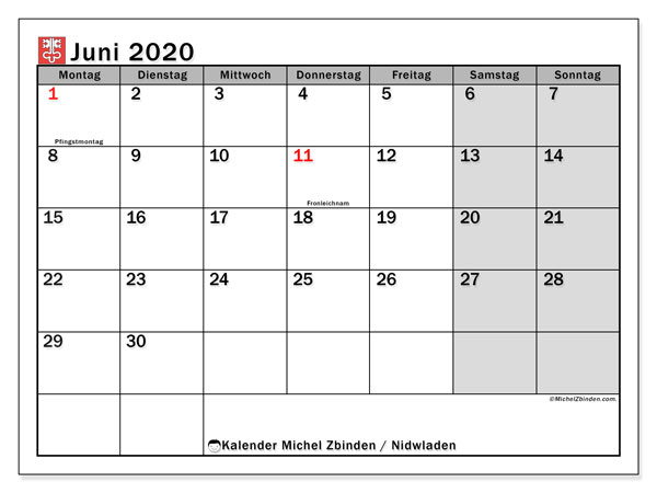 Kalender Juni 2020, mit den Feiertagen des Kantons Nidwalden. Kalender Feiertage frei zum ausdrucken.
