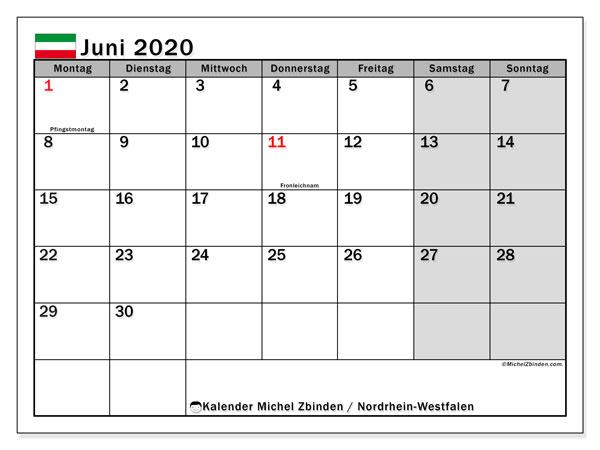 Kalender Juni 2020, mit den Feiertagen in Nordrhein-Westfalen. Kalender mit Feiertagen zum kostenlosen ausdrucken.