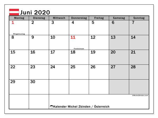 Kalender für Juni 2020, mit Feiertagen in Österreich. Monatlicher Zeitplan zum kostenlosen ausdrucken.