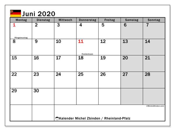 Kalender Juni 2020, mit den Feiertagen in Rheinland-Pfalz. Kalender Feiertage frei zum ausdrucken.