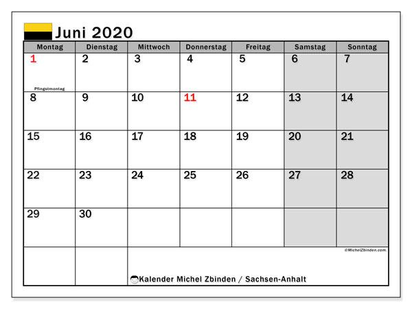 Kalender Juni 2020, mit den Feiertagen in Sachsen-Anhalt. Kalender Feiertage frei zum ausdrucken.
