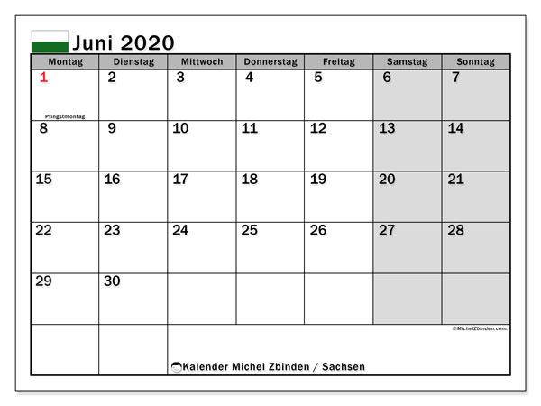 Kalender Juni 2020, mit den Feiertagen in Sachsen. Kalender mit Feiertagen zum kostenlosen ausdrucken.