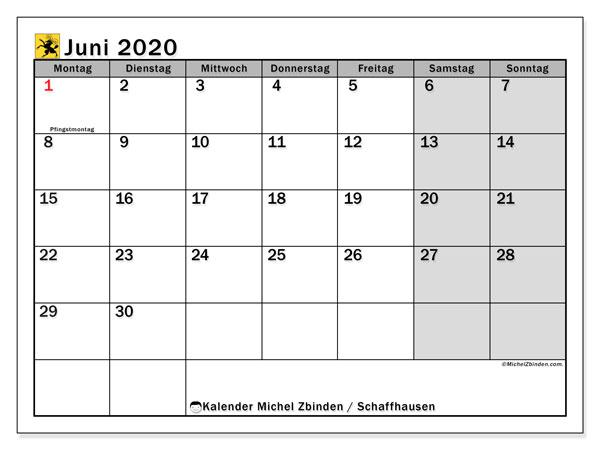 Kalender Juni 2020, mit den Feiertagen des Kantons Schaffhausen. Kalender mit Feiertagen zum kostenlosen ausdrucken.