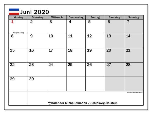 Kalender Juni 2020, mit den Feiertagen in Schleswig-Holstein. Kalender Feiertage frei zum ausdrucken.