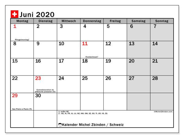 Kalender Juni 2020, mit den Feiertagen der  Schweiz. Kalender Feiertage frei zum ausdrucken.