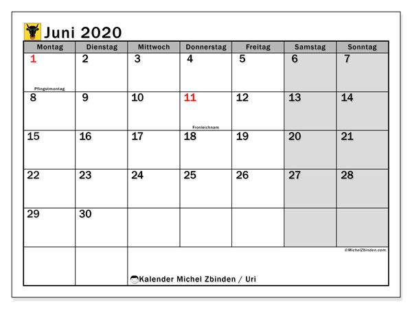 Kalender Juni 2020, mit den Feiertagen des Kantons Uri. Kalender Feiertage frei zum ausdrucken.