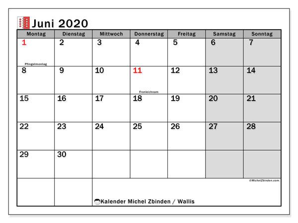 Kalender Juni 2020, mit den Feiertagen des Kantons Wallis. Kalender mit Feiertagen zum kostenlosen ausdrucken.