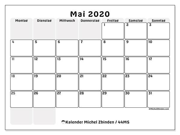 Kalender Mai 2020, 44MS. Kostenlos ausdruckbare Zeitplan.