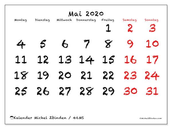 Kalender Mai 2020, 46MS. Monatskalender zum kostenlosen ausdrucken.