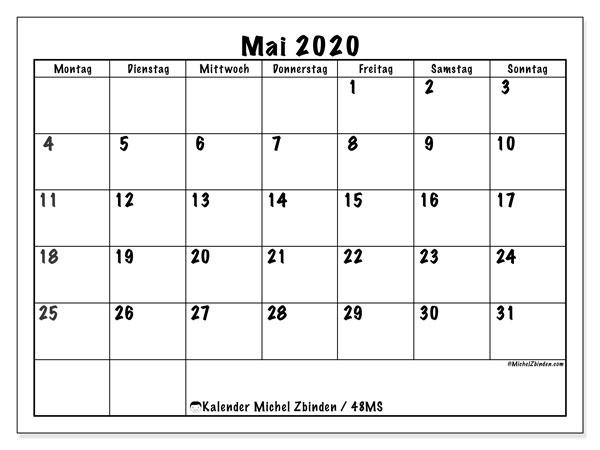 Kalender Mai 2020, 48MS. Kostenlos ausdruckbare Kalender.