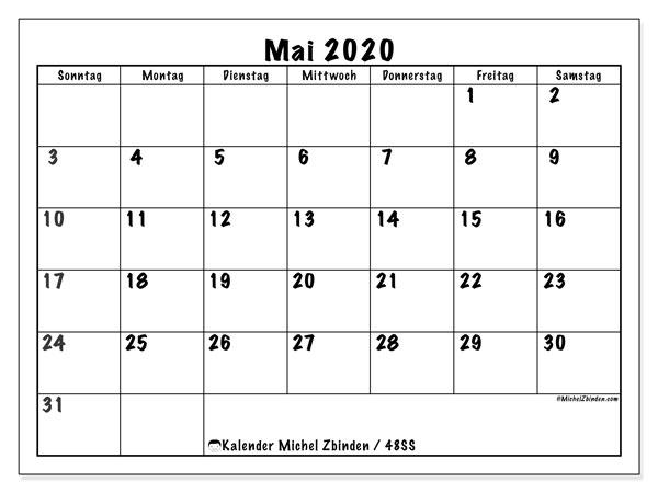 Kalender Mai 2020, 48SS. Kalender für den Monat zum kostenlosen ausdrucken.