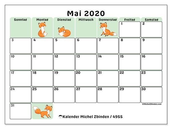 Kalender Mai 2020, 49SS. Kostenlos ausdruckbare Planer.