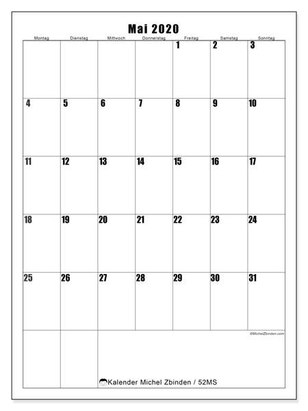 Kalender Mai 2020, 52MS. Kostenloser Zeitplan zum ausdrucken.