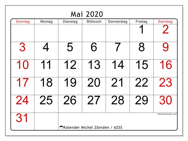 Kalender Mai 2020, 62SS. Monatlicher Zeitplan zum kostenlosen ausdrucken.