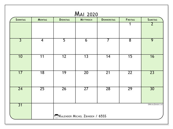 Kalender Mai 2020, 65SS. Zeitplan zum kostenlosen ausdrucken.