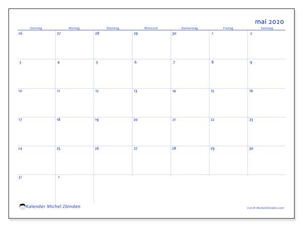 Kalender Mai 2020, 73SS. Kalender zum kostenlosen ausdrucken.