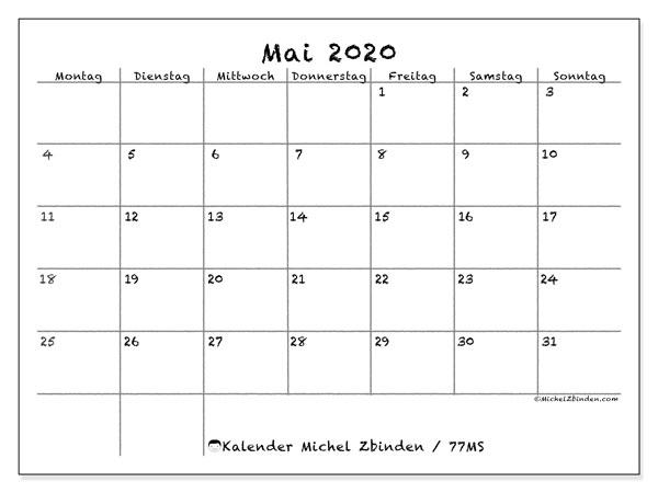 Kalender Mai 2020, 77MS. Monatskalender zum kostenlosen ausdrucken.