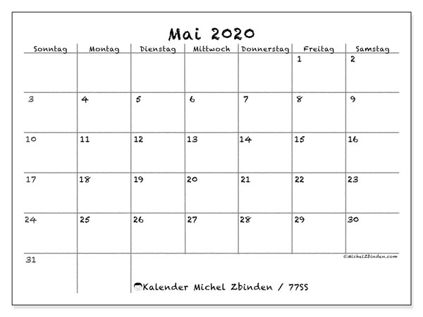 Kalender Mai 2020, 77SS. Kostenlos ausdruckbare Kalender.