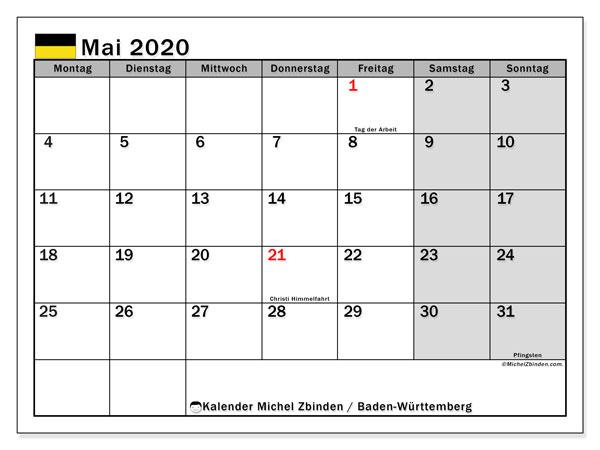 Kalender Mai 2020, mit den Feiertagen in Baden-Württemberg. Kalender Feiertage frei zum ausdrucken.