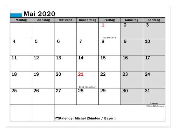 Kalender Mai 2020, mit den Feiertagen von Bayern. Kalender Feiertage frei zum ausdrucken.