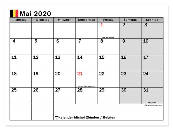 Kalender Mai 2020, mit den Feiertagen von Belgien. Kalender mit Feiertagen zum kostenlosen ausdrucken.