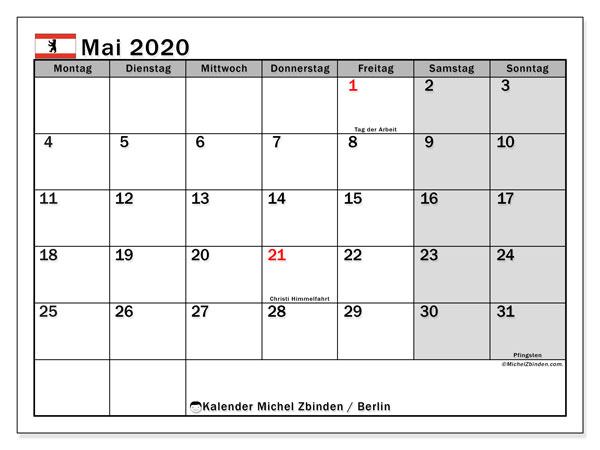Kalender Mai 2020, mit den Feiertagen in Berlin. Kalender Feiertage frei zum ausdrucken.