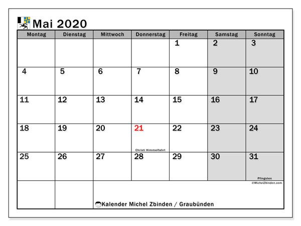 Kalender Mai 2020, mit den Feiertagen des Kantons Graubünden. Kalender mit Feiertagen zum kostenlosen ausdrucken.