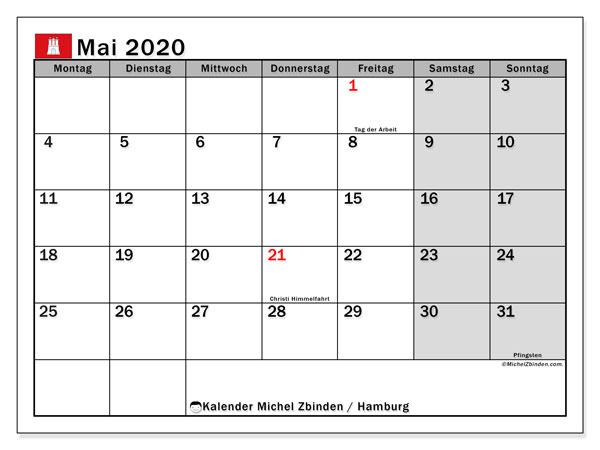 Kalender Mai 2020, mit den Feiertagen in Hamburg. Kalender mit Feiertagen zum kostenlosen ausdrucken.