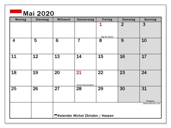 Kalender Mai 2020, mit den Feiertagen in Hessen. Kalender Feiertage frei zum ausdrucken.