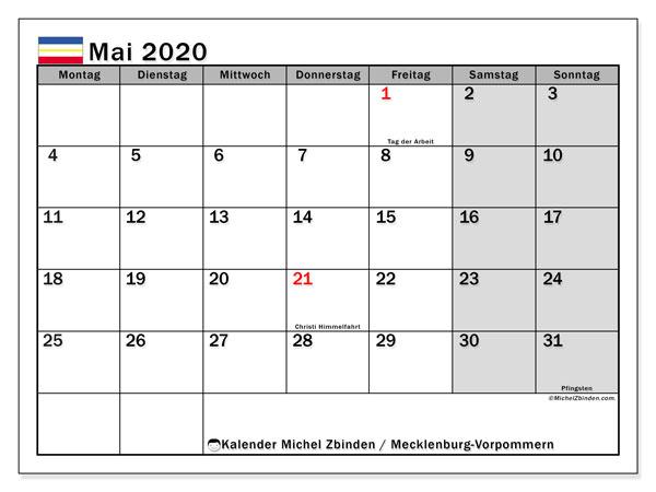 Kalender Mai 2020, mit den Feiertagen in Mecklenburg-Vorpommern. Kalender mit Feiertagen zum kostenlosen ausdrucken.