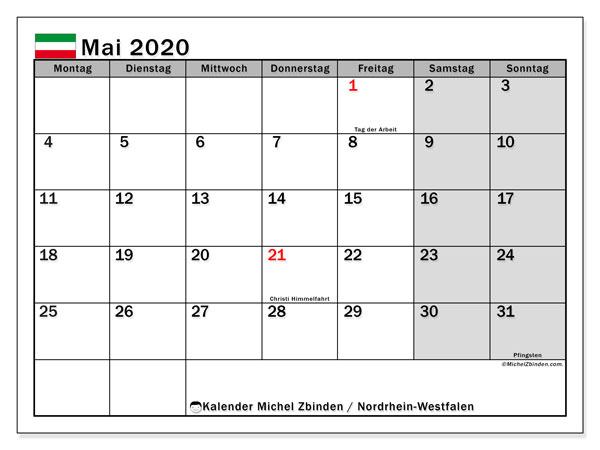 Kalender Mai 2020, mit den Feiertagen in Nordrhein-Westfalen. Kalender mit Feiertagen zum kostenlosen ausdrucken.