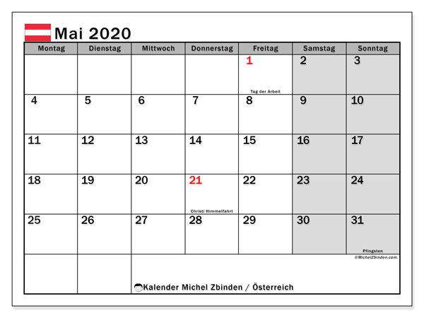 Kalender für Mai 2020, mit Feiertagen in Österreich. Kostenlos ausdruckbare Kalender.