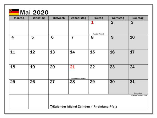 Kalender Mai 2020, mit den Feiertagen in Rheinland-Pfalz. Kalender mit Feiertagen zum kostenlosen ausdrucken.